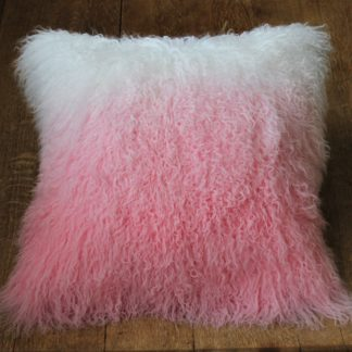 Ombre sheepskin cushion pink