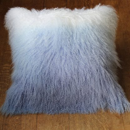 Ombre sheepskin cushion blue