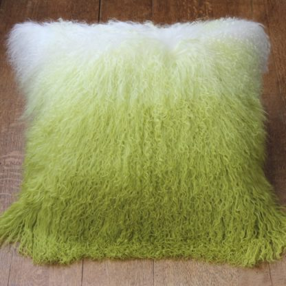 Ombre sheepskin cushion green