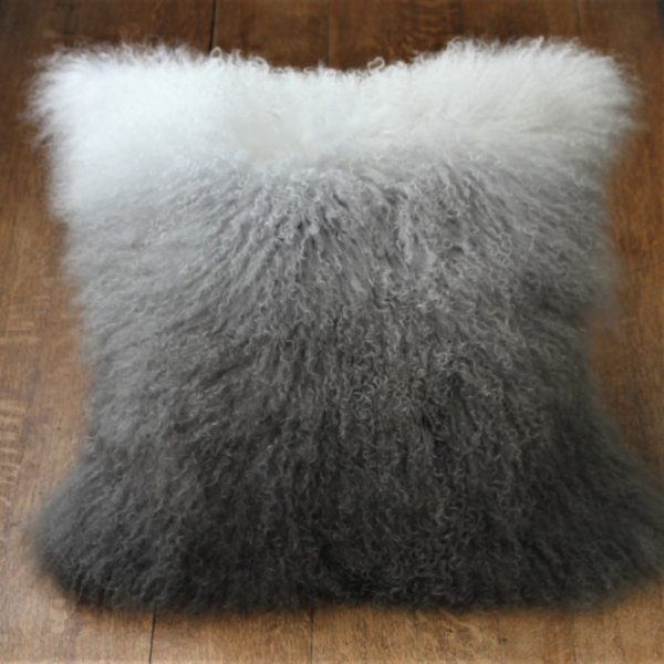 Ombre sheepskin cushion grey