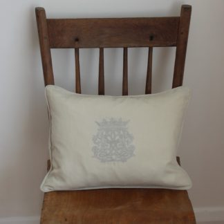 Monogramme Linen Cushion Cover Stone