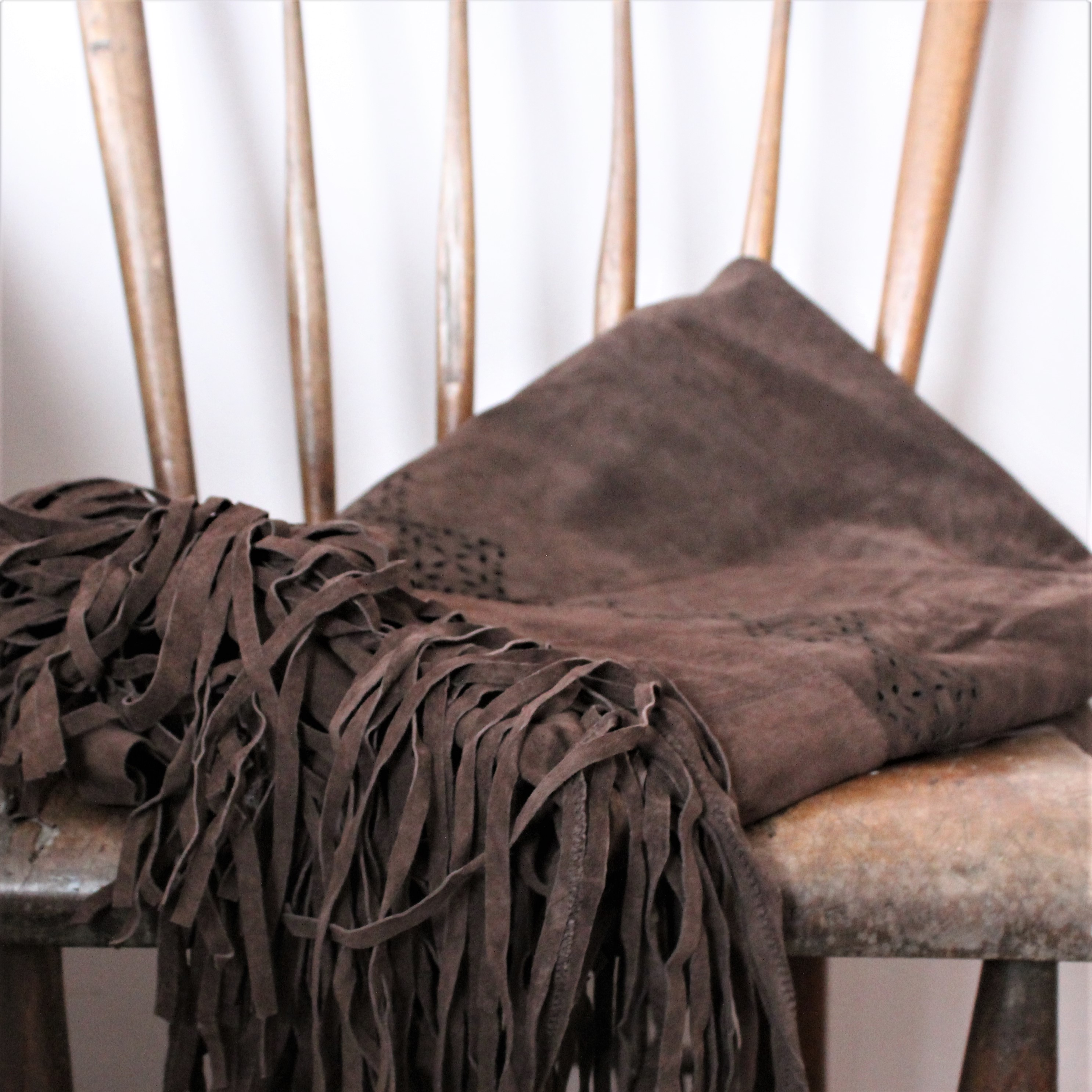 Leather Fringed Throw