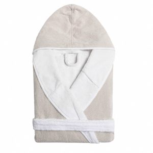 Double Tone Hooded Robe Stone
